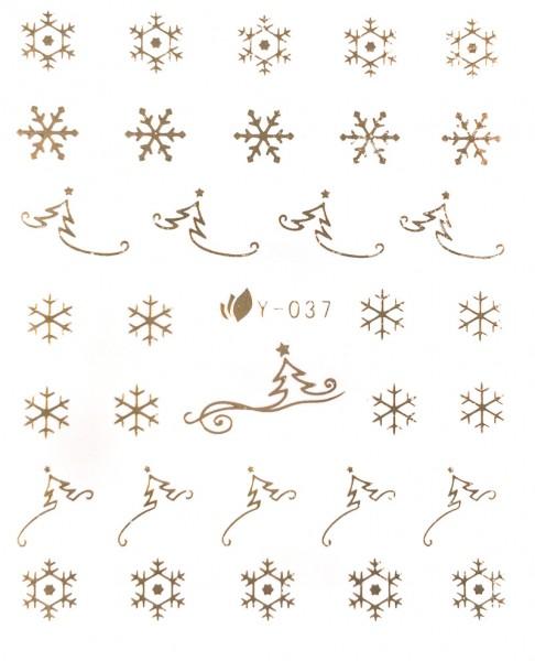 Schneeflocken und Weihnachtsbäume gold #39