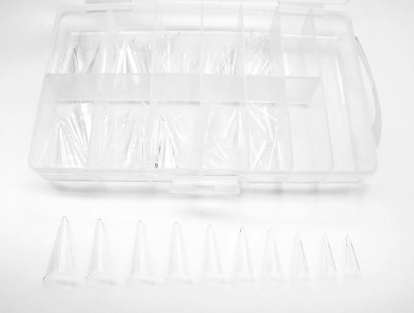 Stiletto Tips transparent ohne Klebefläche 100 Stück