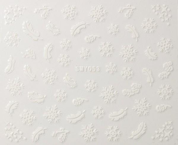 Weiße Federn und Schneeflocken Sticker selbst klebend #100