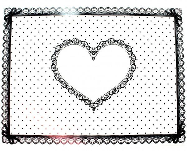 Arbeitsunterlage Silikon weiß-schwarz mit Herz