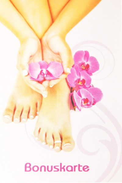 50 Bonuskarten Hand mit Orchidee