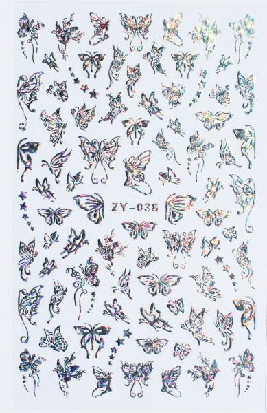 Schmetterling Sticker silber hologram 038 XL Bogen