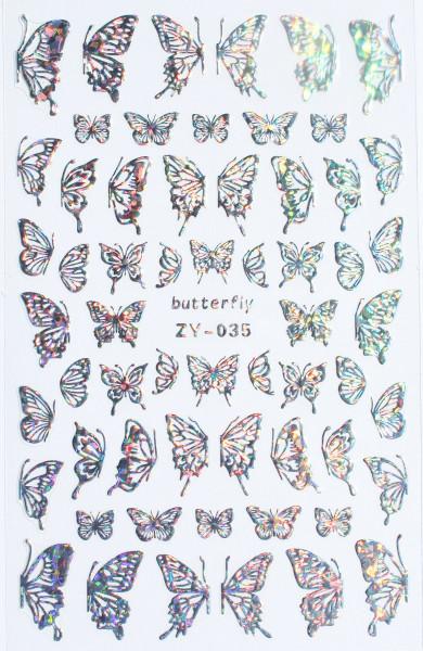 Schmetterling Sticker silber hologram 035 XL Bogen