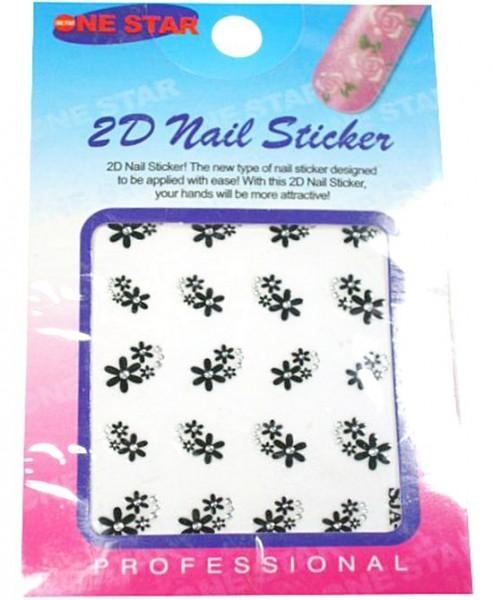 3D Sticker Blumen mit Straß schwarz