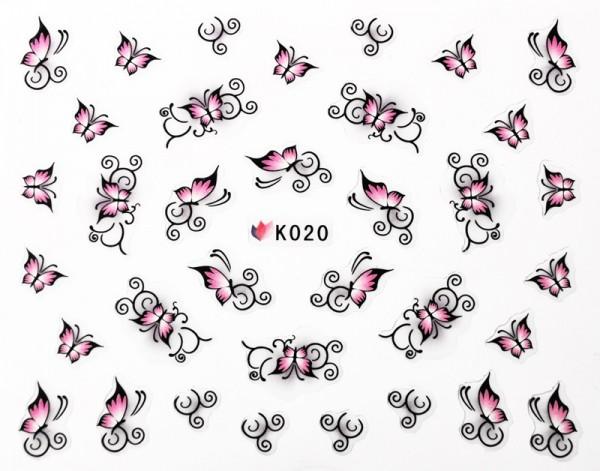 pink-schwarze Schmetterling Sticker selbst klebend #101