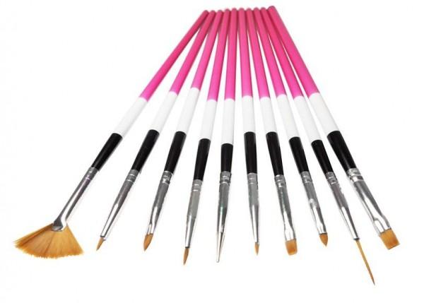 10 teiliges Nailart Pinsel Set pink/weiß/schwarz