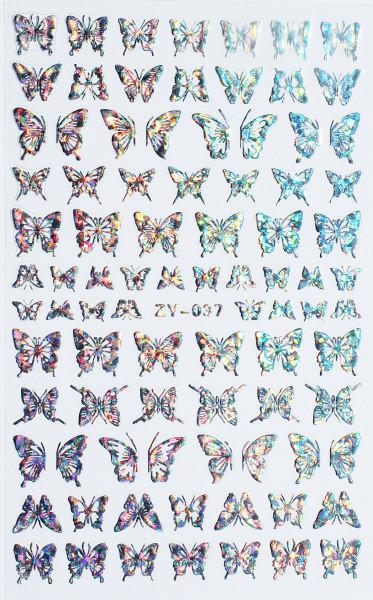Schmetterling Sticker silber hologram 037 XL Bogen