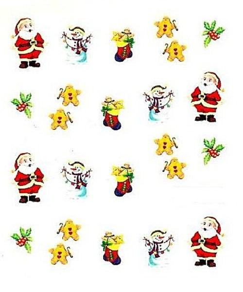 Sticker Weihnachtsmann mit Schneemann und Lebkuchenmännchen #12