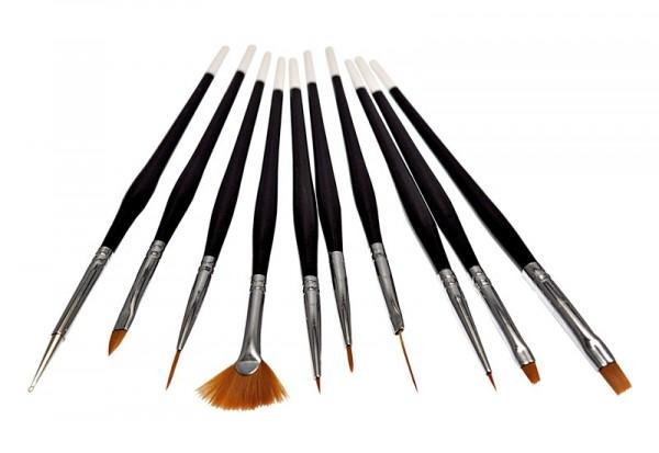 10 teiliges Nailart Pinsel Set schwarz weiß
