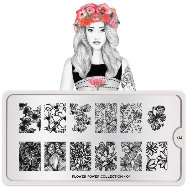 MoYou London Stempel Schablone Motiv:Flower Power 04